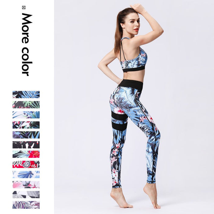 Sports Bra and Leggings Printed Yoga Set
