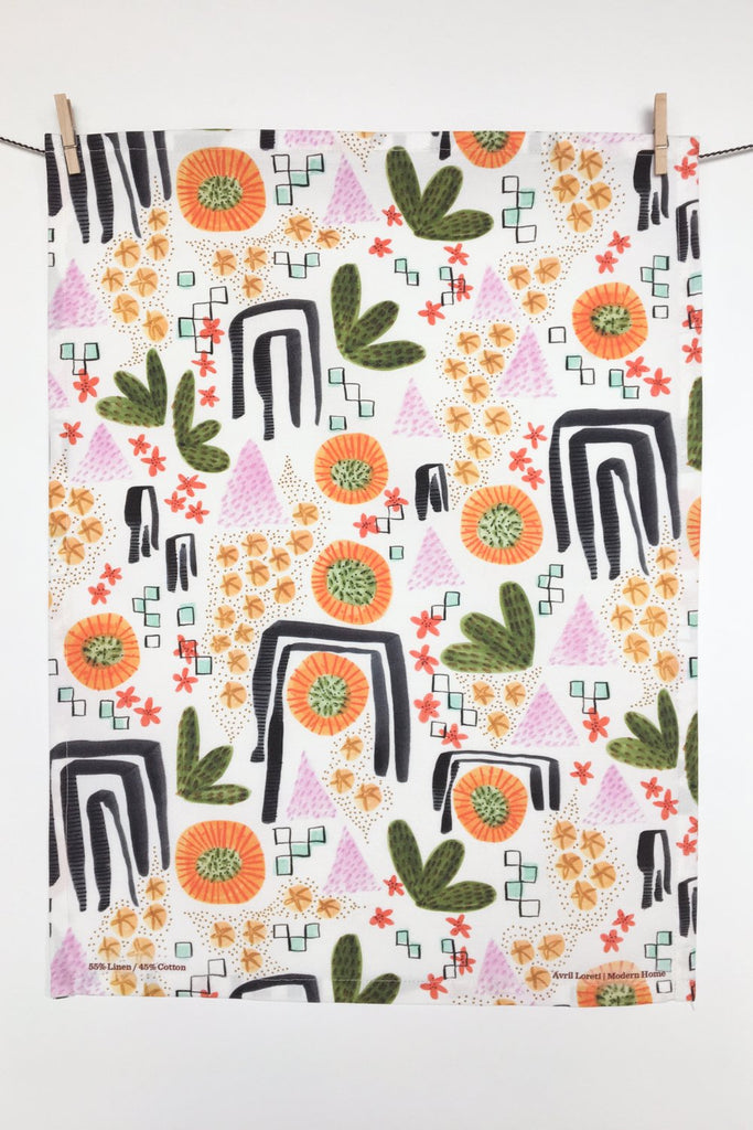 Desert Bloom Tea Towel