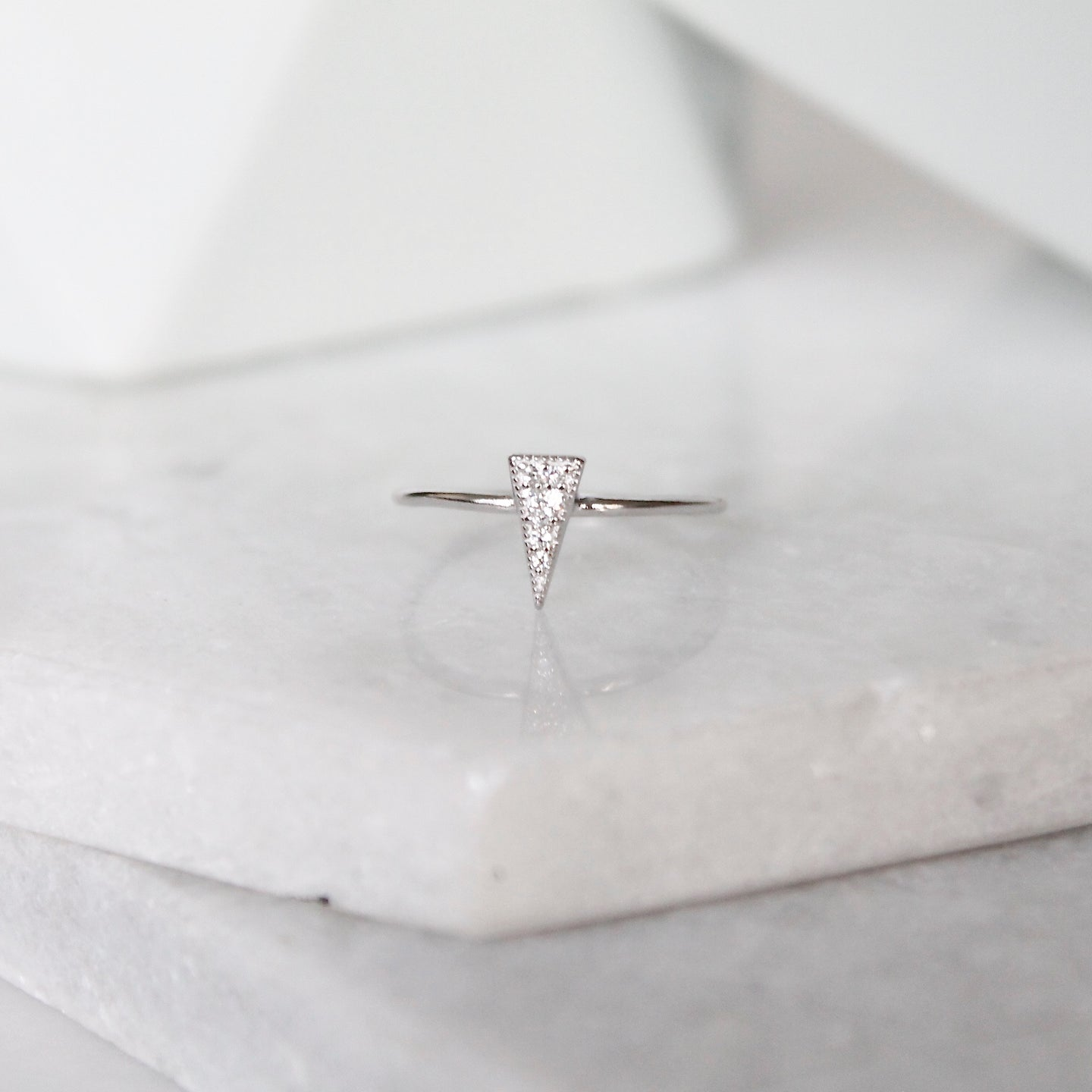 Spike Pyramid Crystal Ring