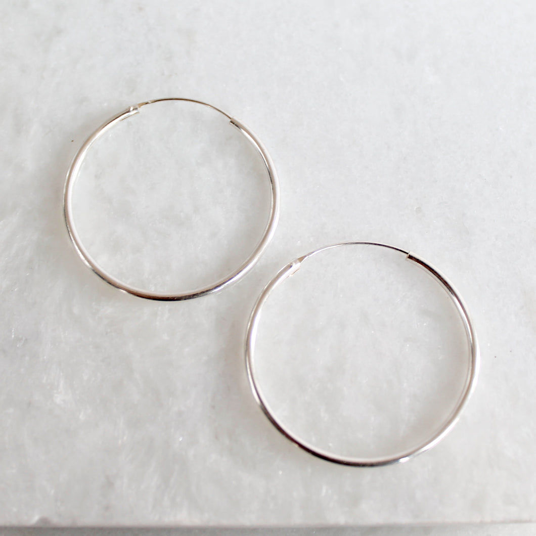 Sleek Hoops (Large) - Sterling Silver
