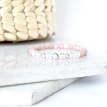 Load image into Gallery viewer, Together but Apart Simplicity Bracelet - Pink Moonstone & Sterling Silver