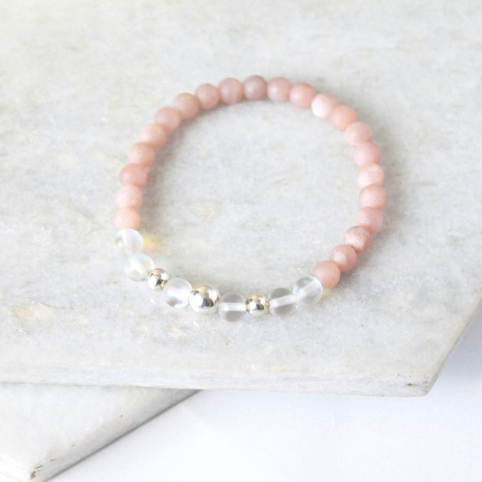 Together but Apart Simplicity Bracelet - Pink Moonstone & Sterling Silver