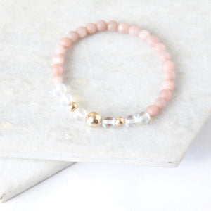 Together but Apart Simplicity Bracelet - Pink Moonstone & Gold Filled