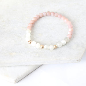 Together but Apart Simplicity Bracelet - Pink Moonstone & Gold Filled Mini Version
