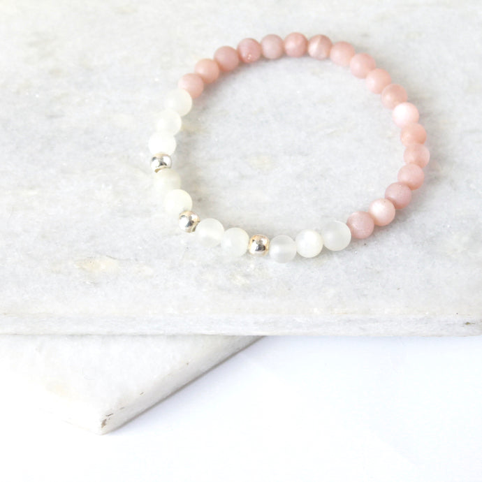 Together but Apart Simplicity Bracelet - Pink Moonstone & Sterling Silver Mini Version