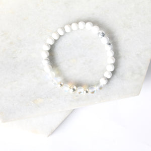 Together but Apart Simplicity Bracelet - White Howelite & Sterling Silver