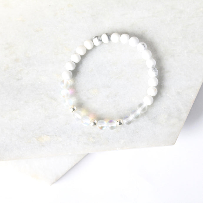 Together but Apart Simplicity Bracelet - White Howelite  & Sterling Silver Mini Version