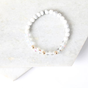 Together but Apart Simplicity Bracelet - White Howelite  & Gold Filled Mini Version