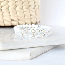 Load image into Gallery viewer, Together but Apart Simplicity Bracelet - White Howelite  & Sterling Silver Mini Version