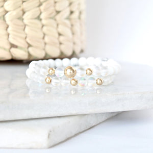 Together but Apart Simplicity Bracelet - White Howelite & Gold Filled