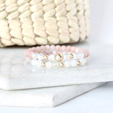 Load image into Gallery viewer, Together but Apart Simplicity Bracelet - Pink Moonstone & Gold Filled