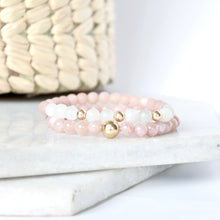 Load image into Gallery viewer, Together but Apart Simplicity Bracelet - Pink Moonstone & Gold Filled Mini Version
