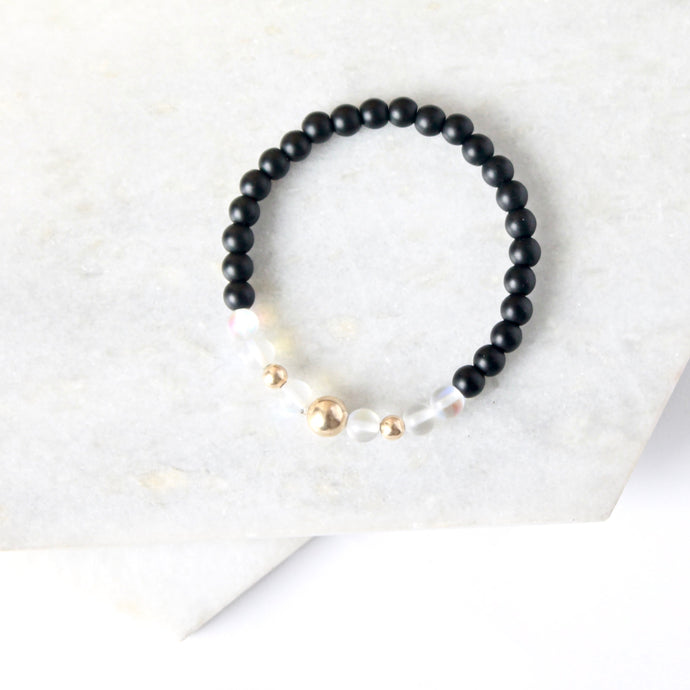 Together but Apart Simplicity Bracelet - Onyx & Gold Fill