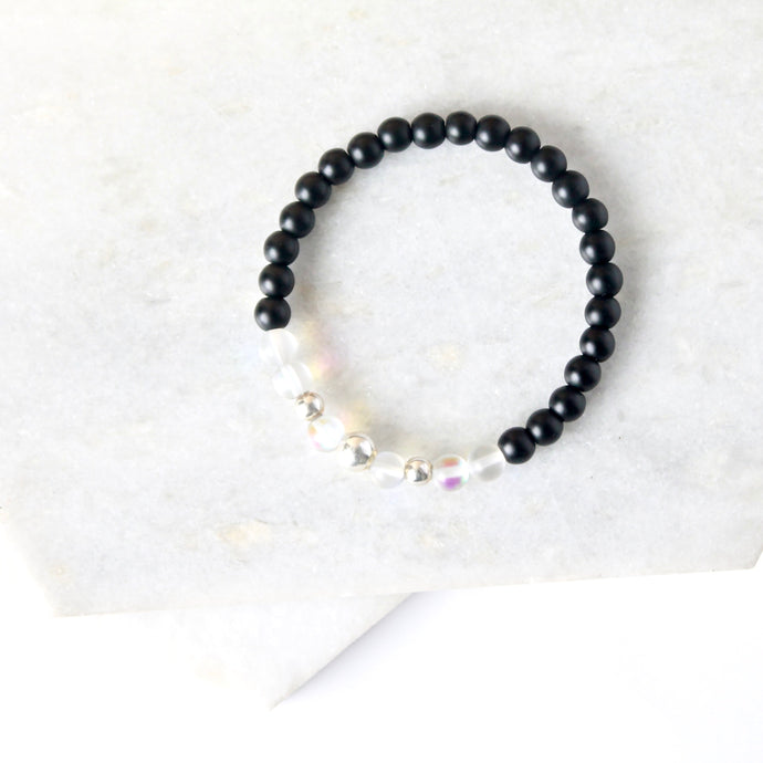 Together but Apart Simplicity Bracelet - Onyx & Silver