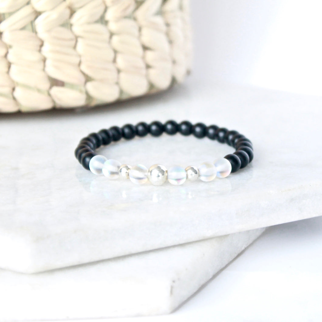 Together but Apart Simplicity Bracelet - Onyx & Silver Mini Version