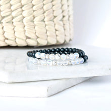 Load image into Gallery viewer, Together but Apart Simplicity Bracelet - Onyx & Silver Mini Version