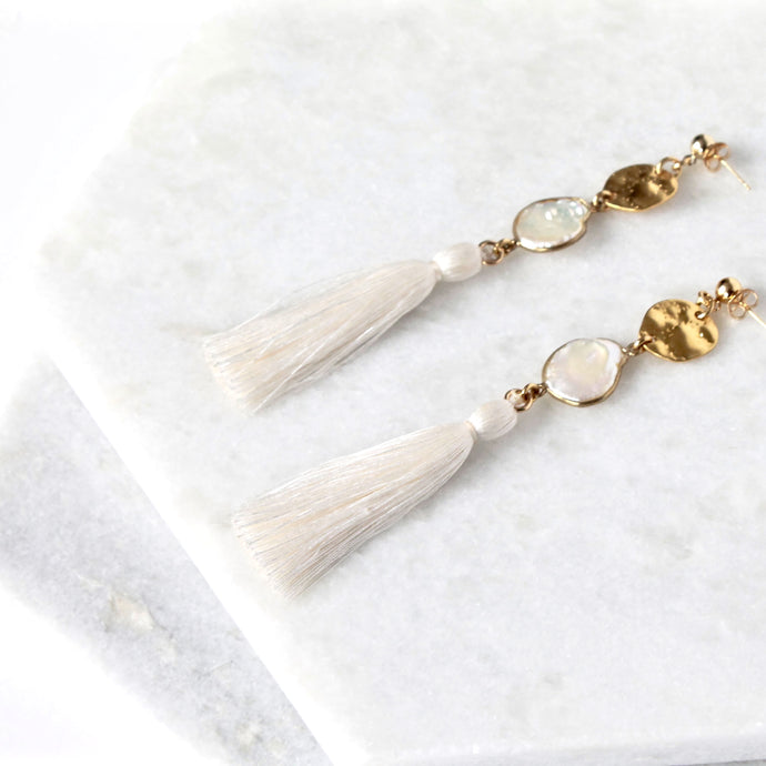Azulik Long Tassel Pearl Earrings