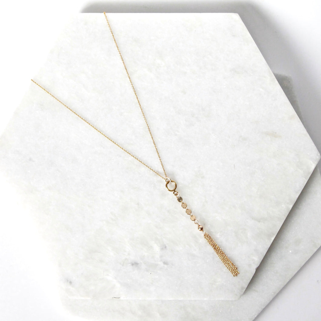 Kai Short Coin Lariat Necklace