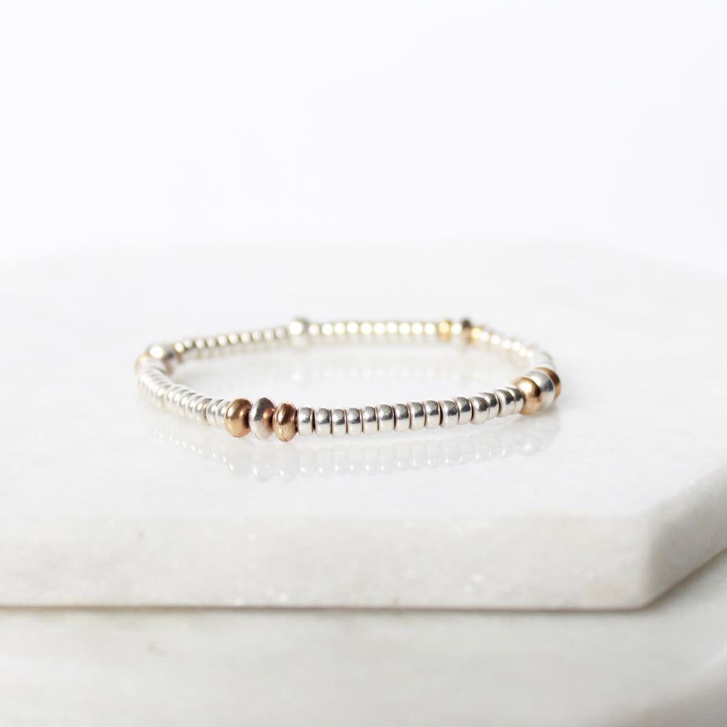 Oval Sterling SIlver & 14k Gold Filled Bead Bracelet