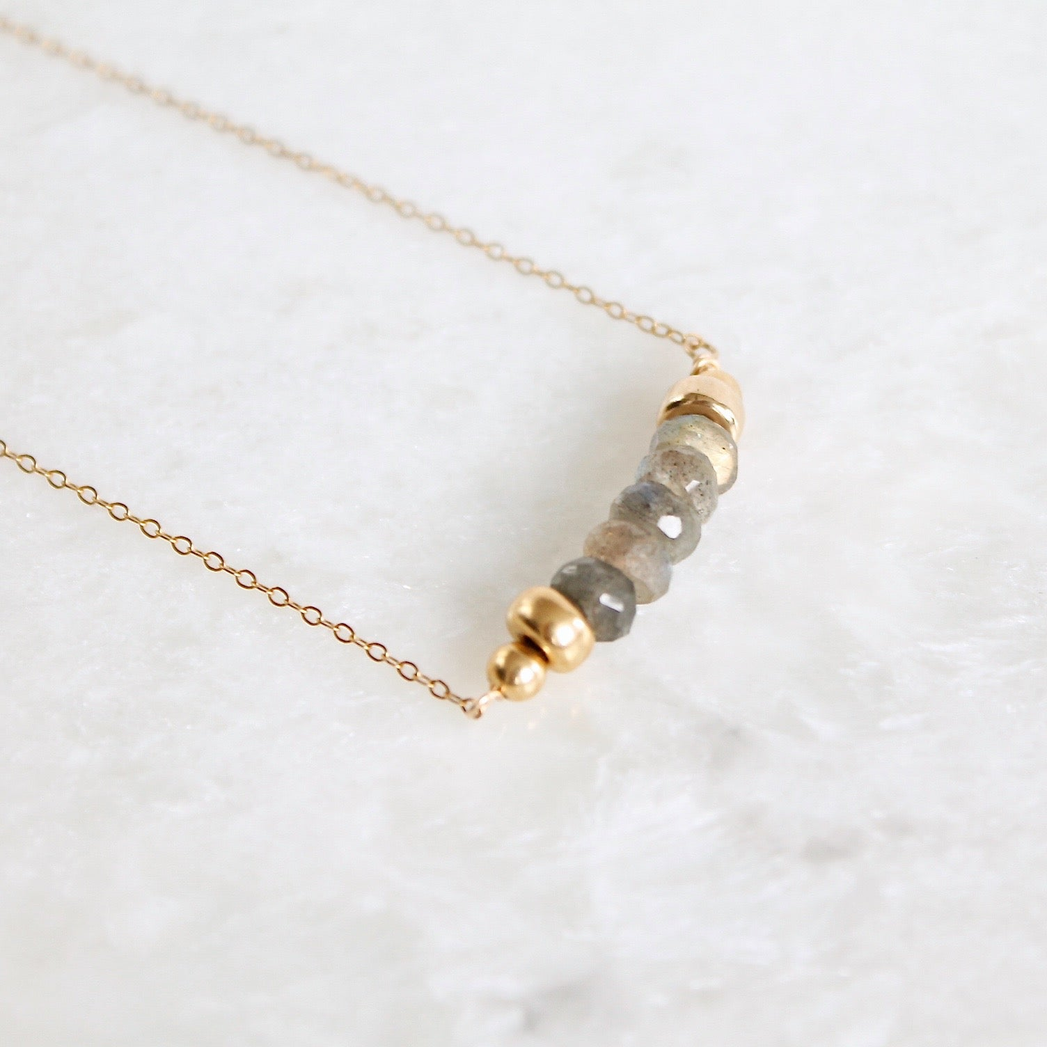 Selene Labradorite Mini Bar Necklace