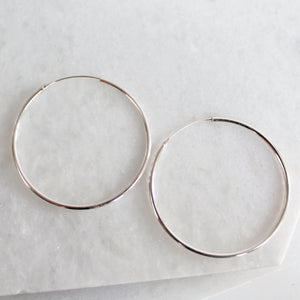Sleek Hoops (Larger) - Sterling Silver
