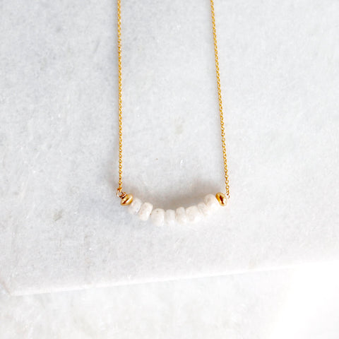 Sencil Moonstone Bar Necklace