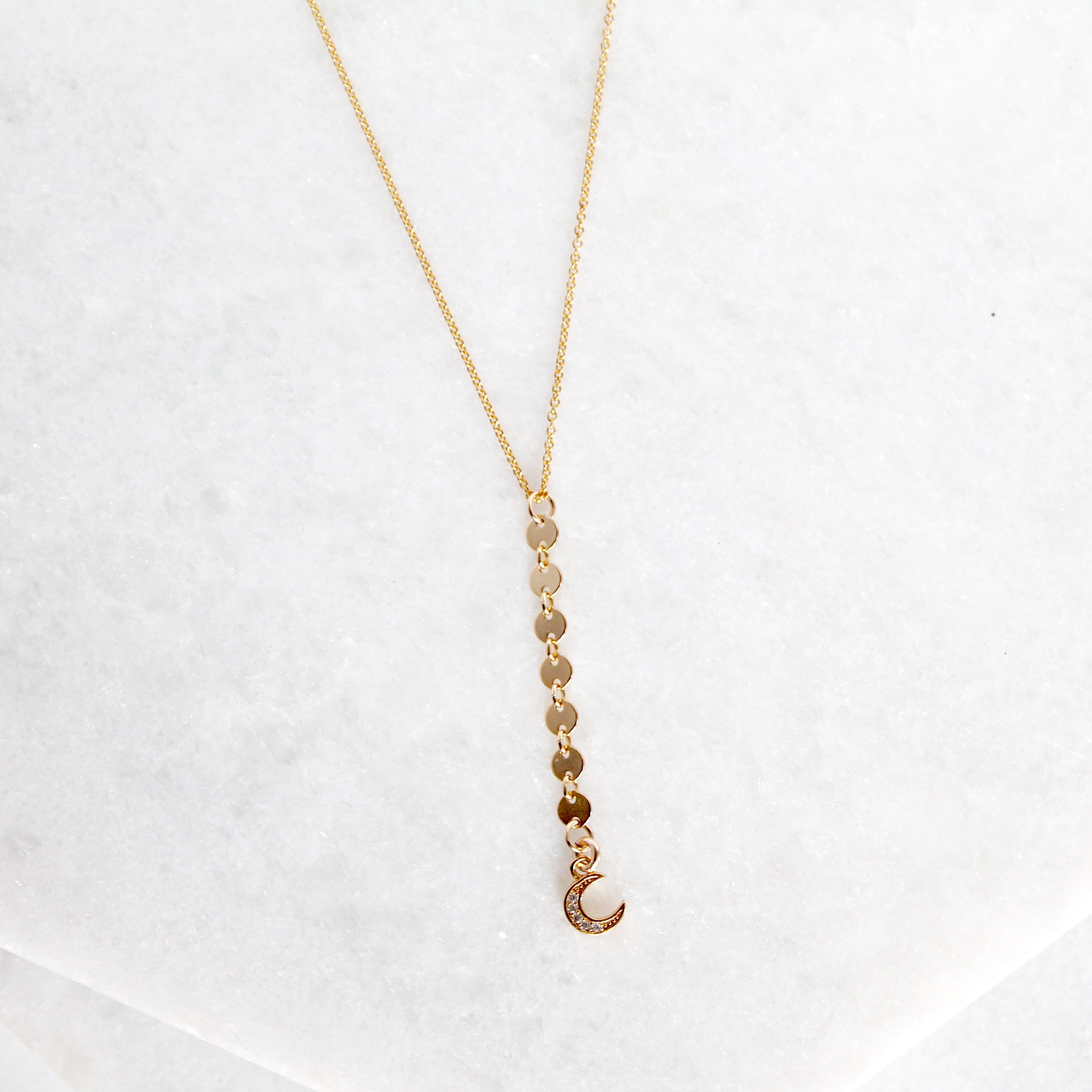 Moon & Disc Y Lariat Necklace