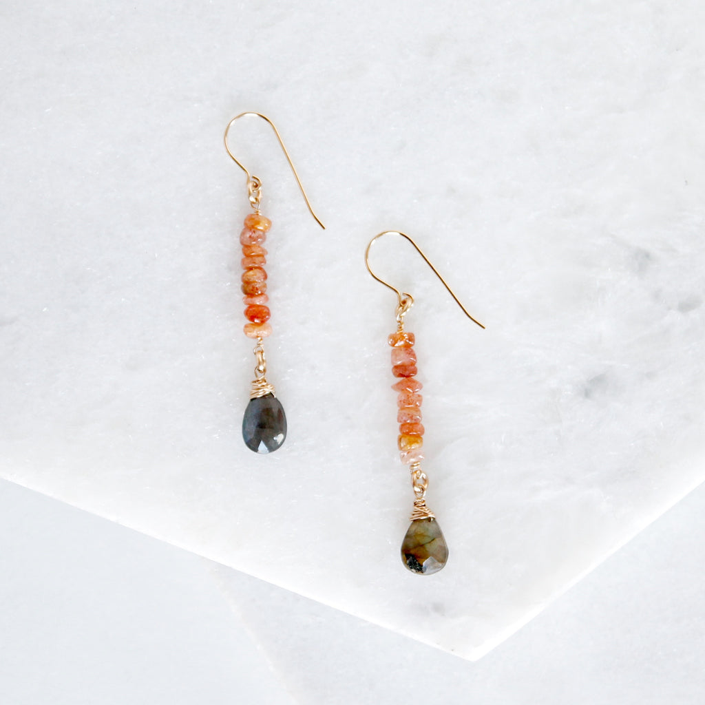 Gemstone Bar & Drop Earrings