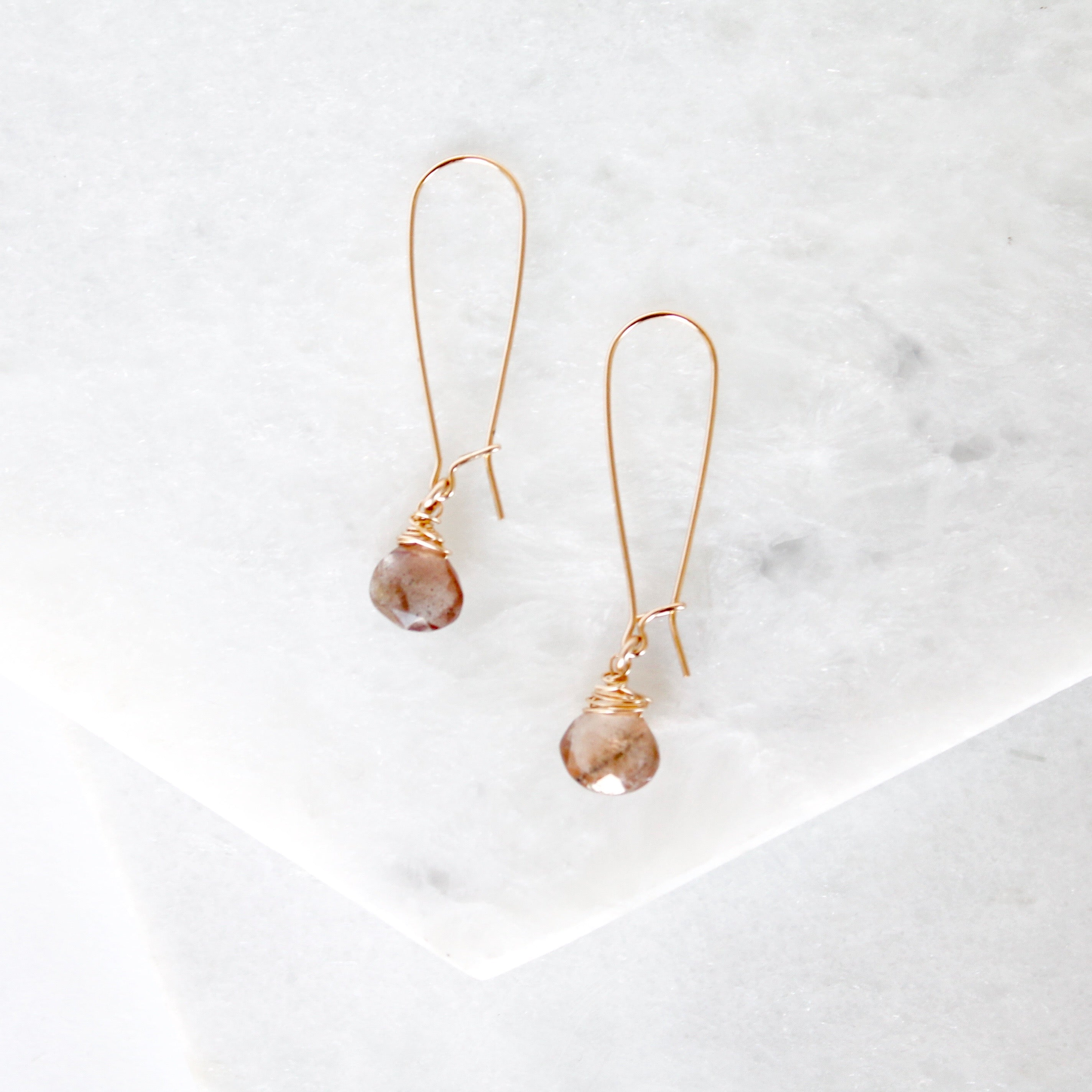 Large Hoops Gemstone Teardrop Earrings