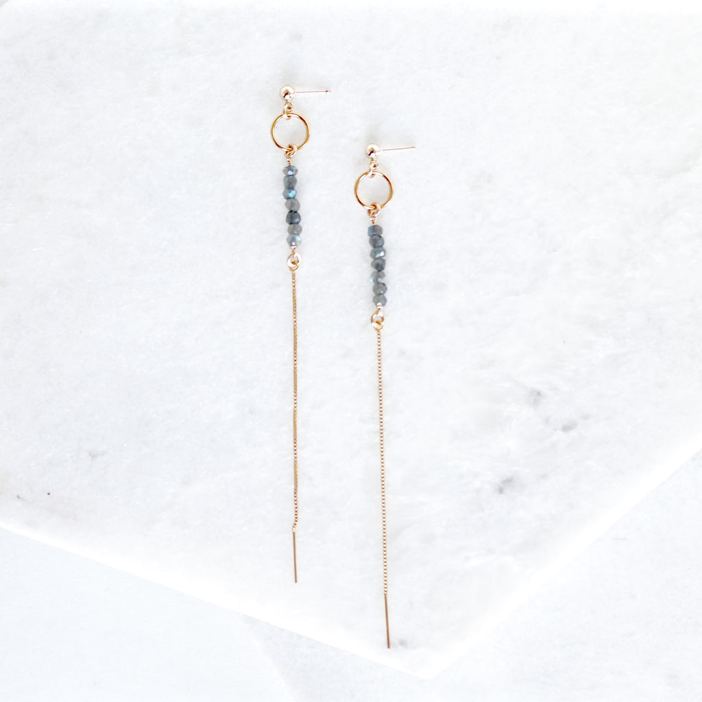 Long Gemstone Danglers