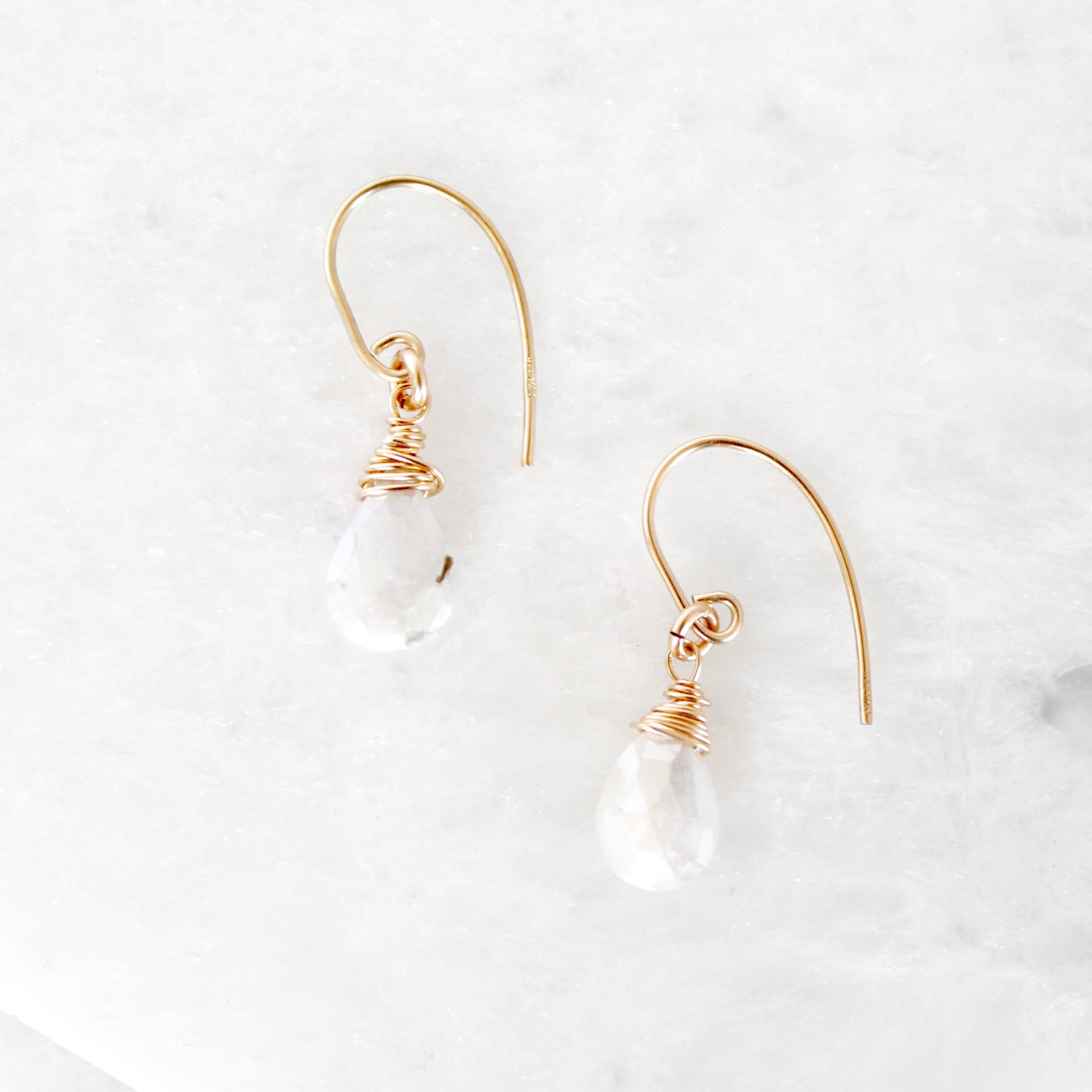Moonstone Teardrop Short Claw Earrings