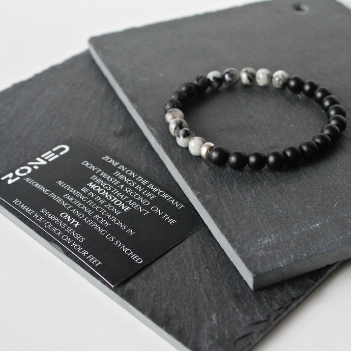 Zoned Bracelet - Black & White Moonstone