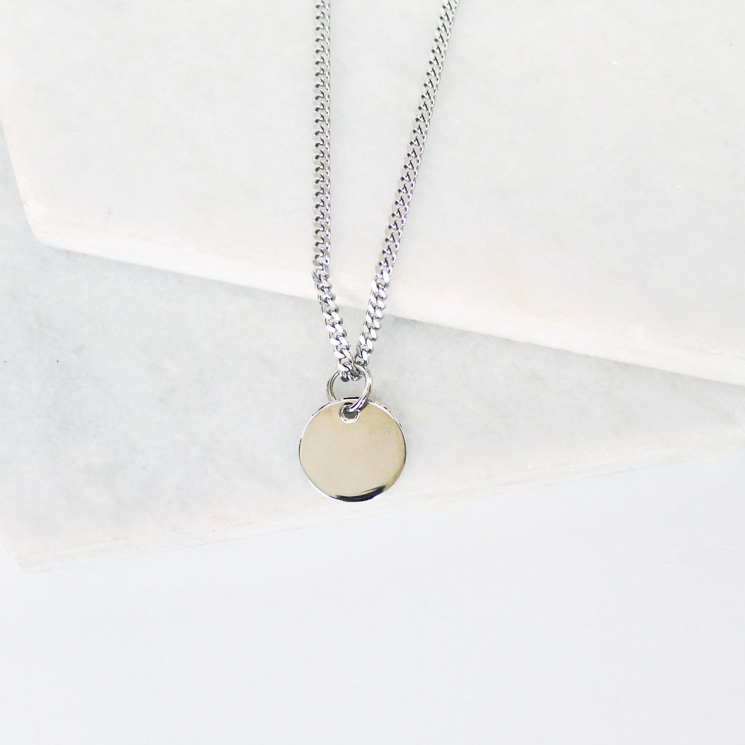 Disk Curb Chain Men's Necklace