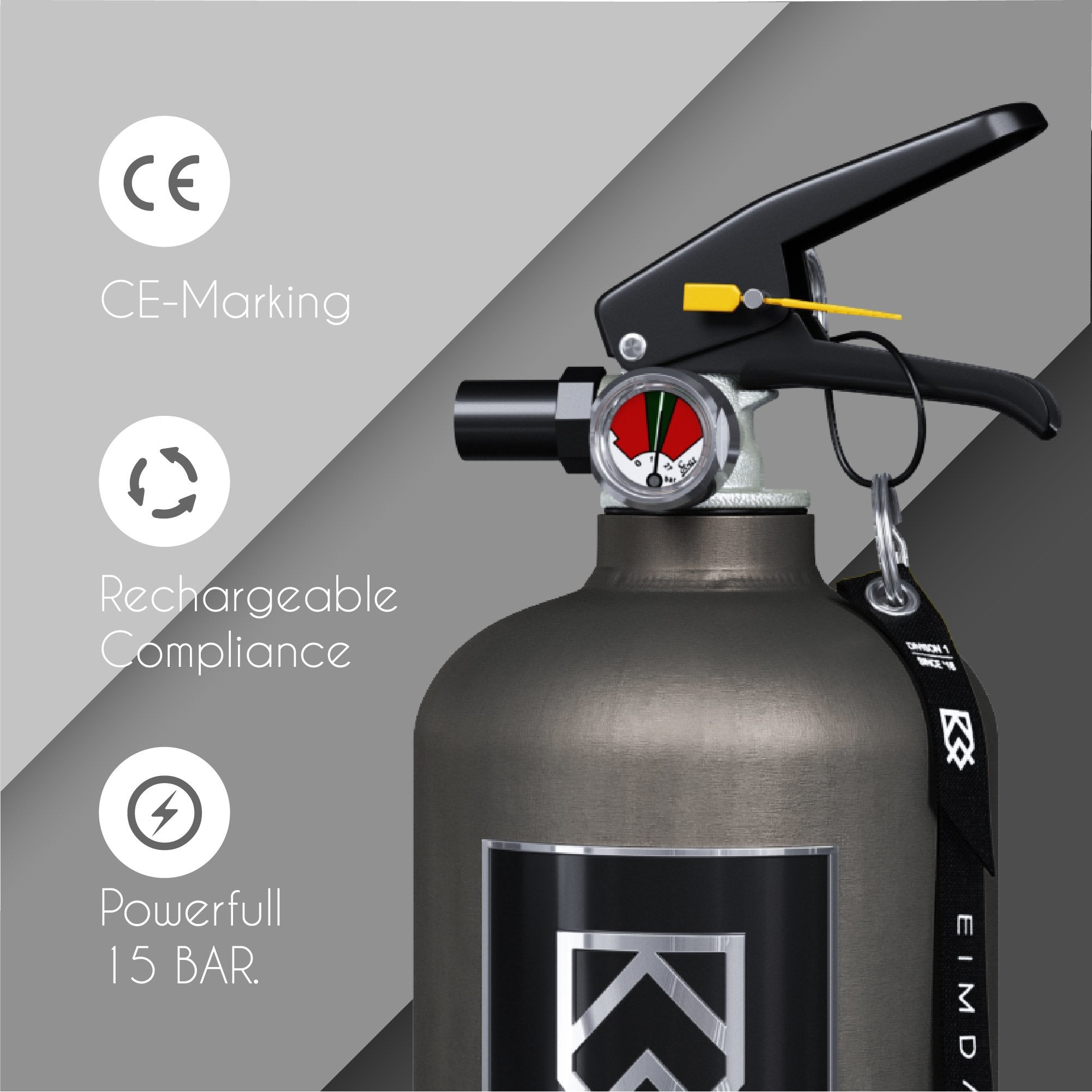 Fire Extinguisher 2 kg - Grey