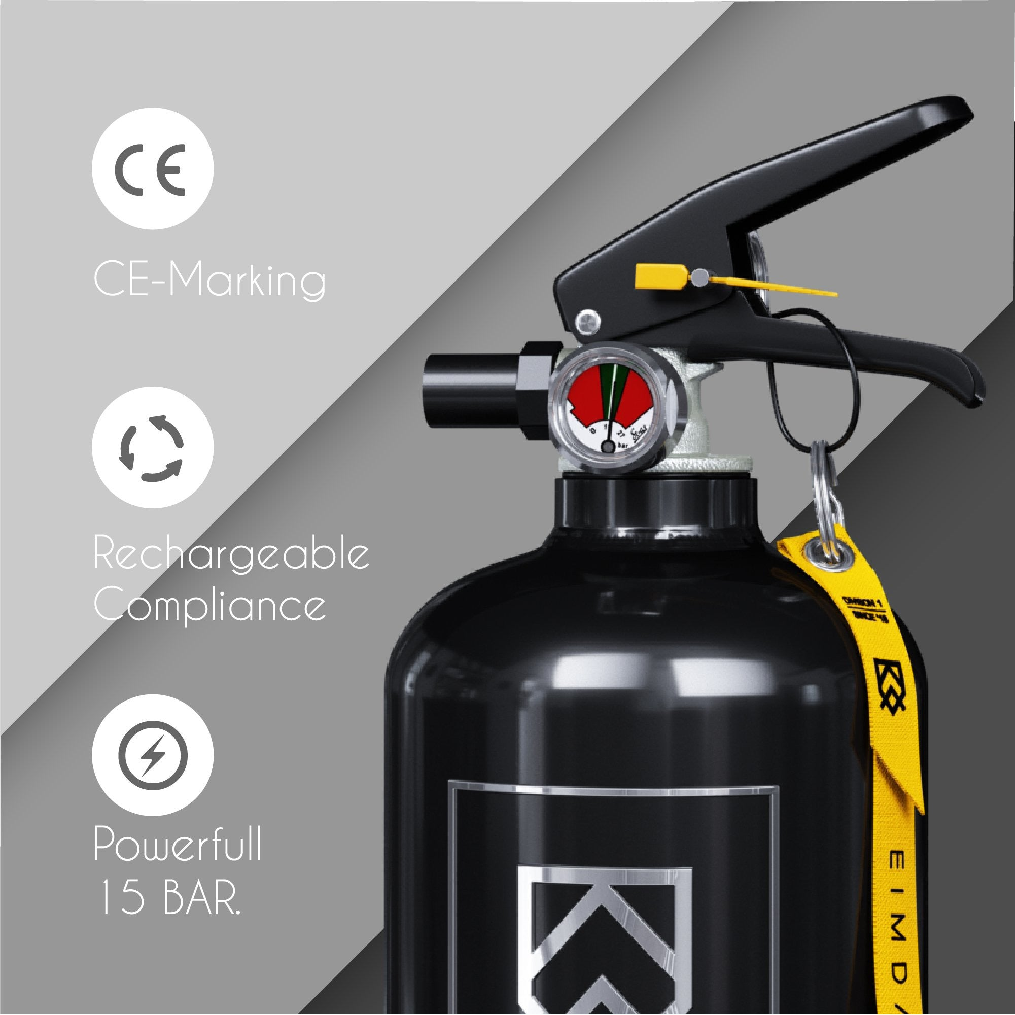 TOR - Black Eimdall 2 kg Design Fire extinguisher