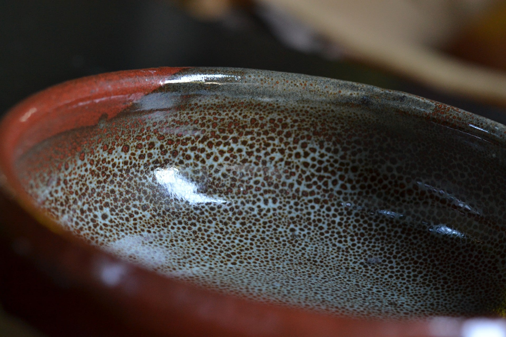 "Forest Green and Brown Speckled ""Trout"" Bowls (2 - sold as pair)"