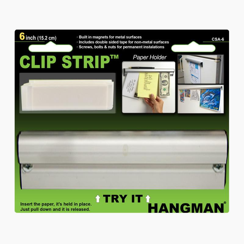 """6/"""" to 96/"""" Hangman Products Clip It Strip Magnetic Note and Paper Holders"""