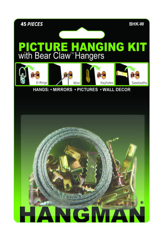 Picture Hanging Kit with Bear Claw Hangers