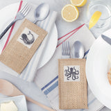coastal silverware pouches