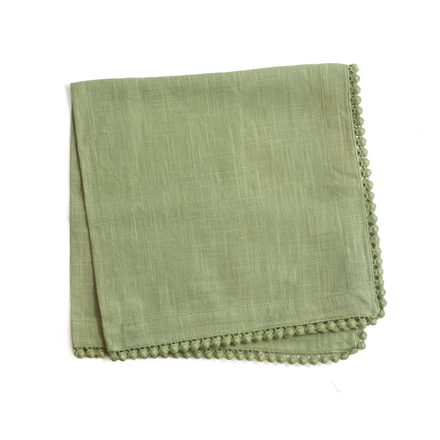 napkin | green lace trimmed | set of 4