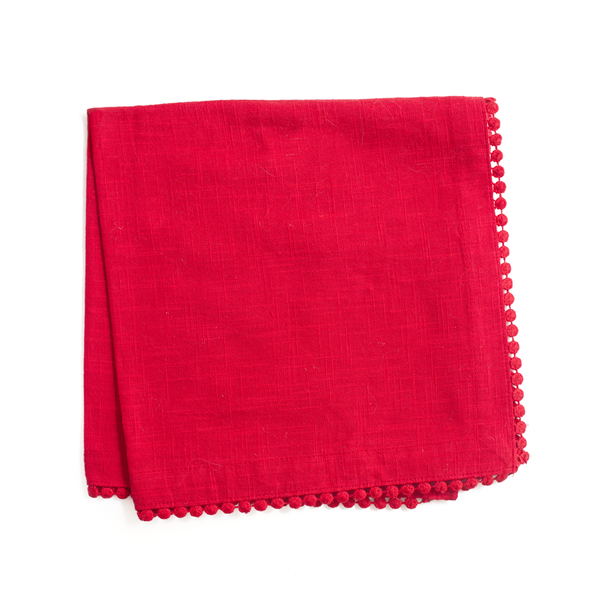 napkin | red lace trimmed | set of 4