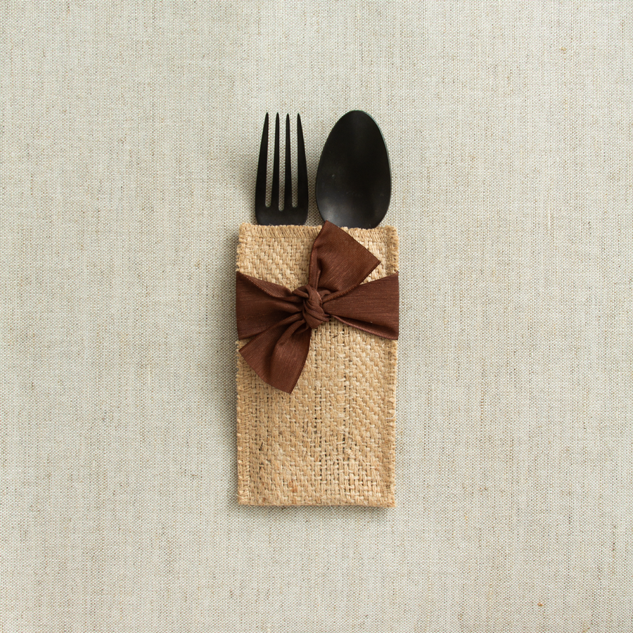 hand-tied ribbon | brown | set of 8