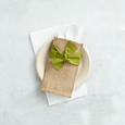 hand-tied ribbon | moss green | set of 8