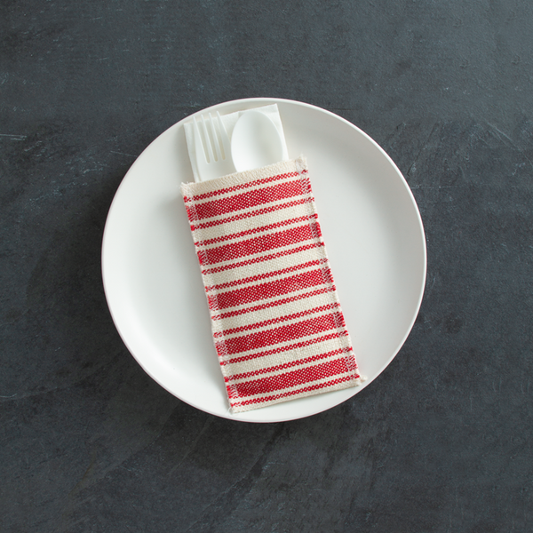coastal | cotton stripe | red | set of 8