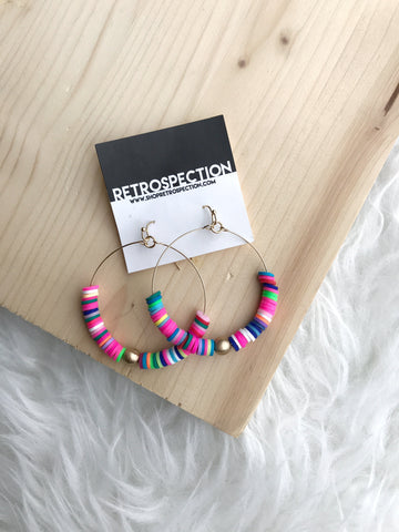 Multi Color Beaded Hoops
