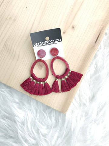 Red Acrylic Tassle Earrings