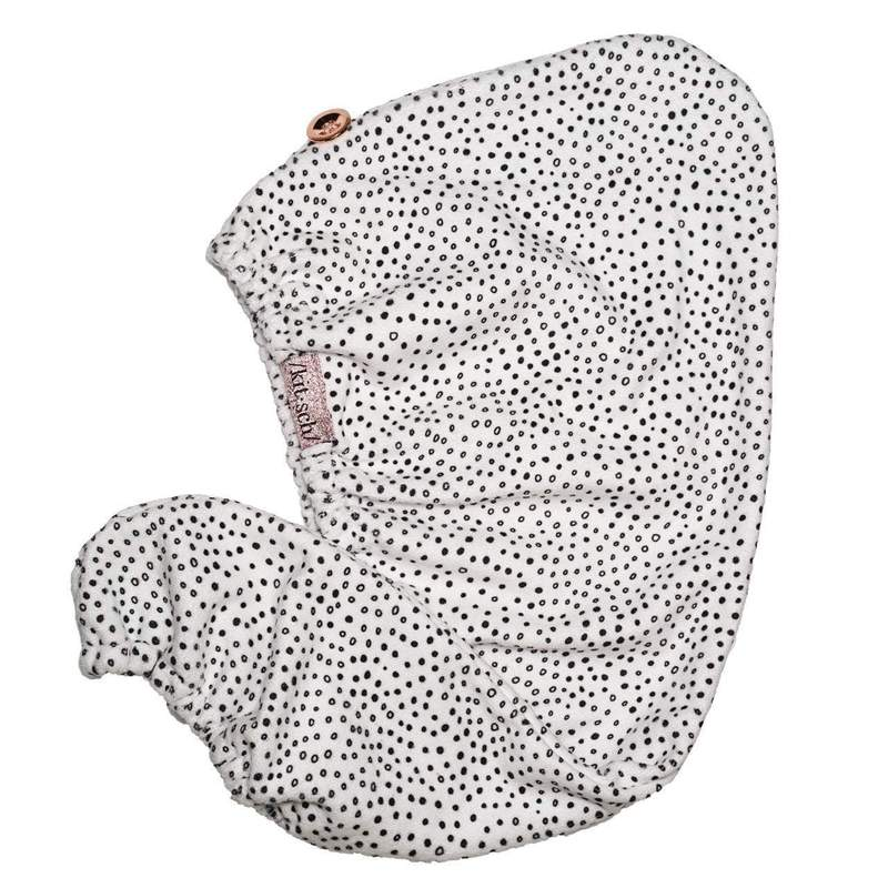 Microfiber Hair Towel - B+W Dots