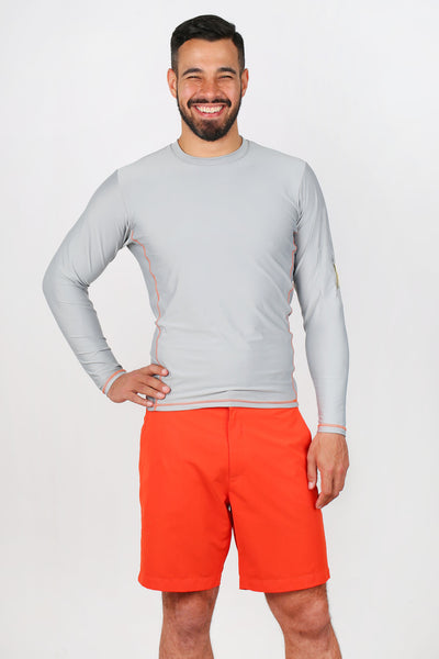 Men's UPF50+ Rash Guard - Grey/Orange