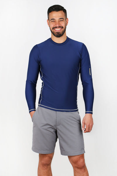 Men's UPF50+ Rash Guard - Nantucket Navy/Grey