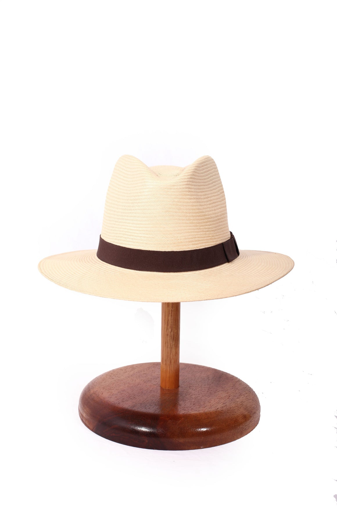 Maya Neumann Panama Style Hat - Brown Ribbon  (Limited stock, please enquire before purchasing)